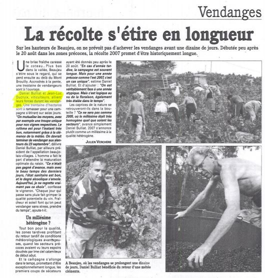 2007 - Des vendanges qui durent en Beaujolais L'information agricole du Rhône - date de publication : 20/09/2007