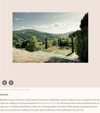 Brides Magazine, article Online octobre 2016, Best place in France