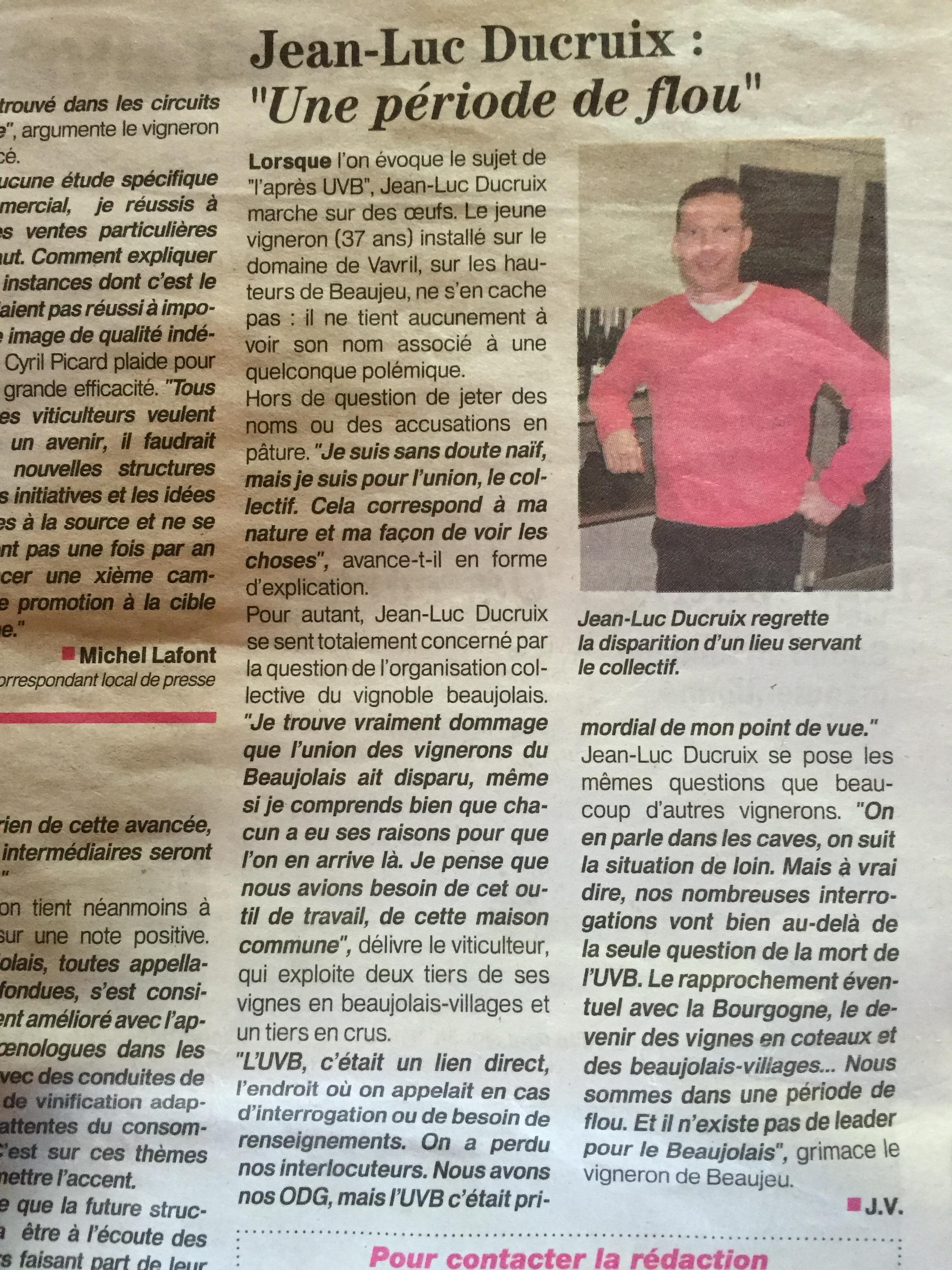 Le Patriote Beaujolais Val de Saone - Jean-Luc Ducruix 21-01-2016 - Une période de flou