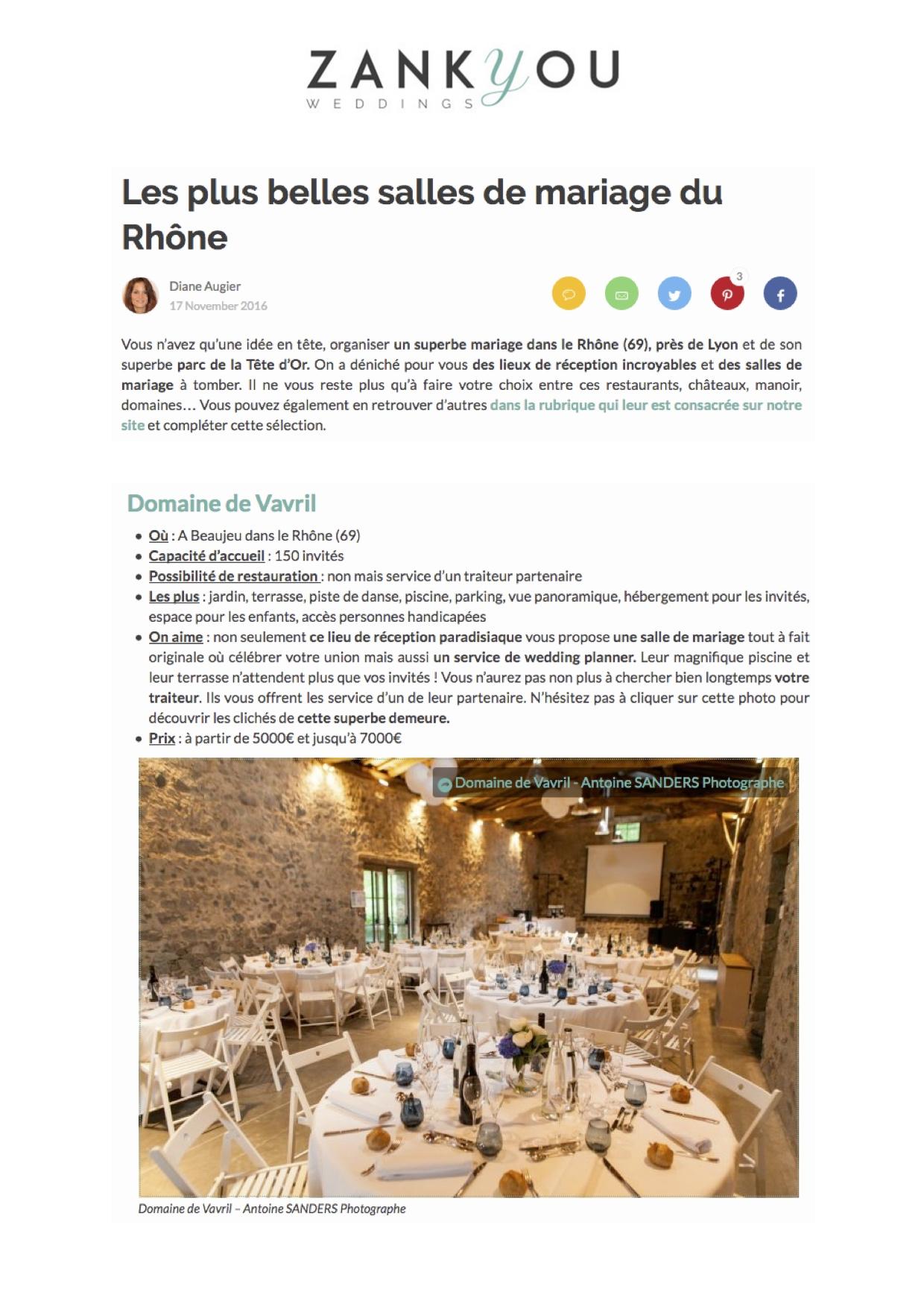 ZankYou Weddings - Les plus belles salles de mariage du Rhône - Novembre 2016